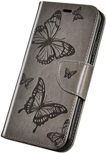 Surakey Cover Compatibile con Nokia 1 Plus Custodia Flip PU Pelle Elegante Motivo Case con Elementi a Farfalla Supporto Porte Carte Anti-Scratch Portafoglio Custodia per Nokia 1 Plus,Grigio