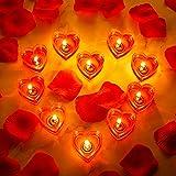 10 Velas de Corazón Vela de Amor Romántico Vela de Candelita sin Humo con 200 Pétalos d...