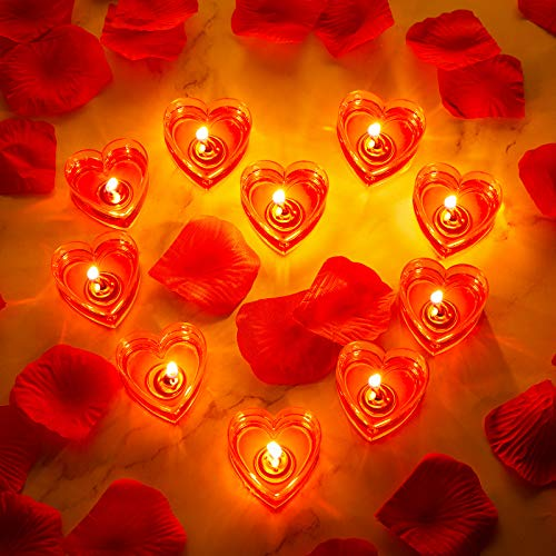 10 Pieces Heart Candles Romantic Love Candle Smokeless Tealight Candle with 200 Pieces Silk Rose Artificial Petals Girl Scatter Petals for Wedding Party Valentines Table Centerpiece Aisle Dinner Decor