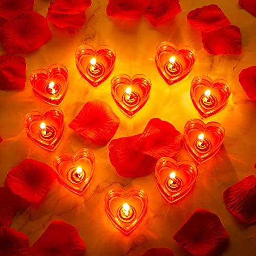 10 Velas de Corazón Vela de Amor Romántico Vela de Candelita sin Humo con 200 Pétalos de Rosa Artificiales Pétalos de Dispersión de Niña para Fiesta Boda San Valentín Centro de Mesa