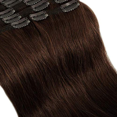 Clip in Extensions Set 100% Remy Echthaar 8 Teilig Haarverlängerung dick Dopplet Tressen Clip-In Hair Extension (50cm-150g,#2 dunkelbraun)