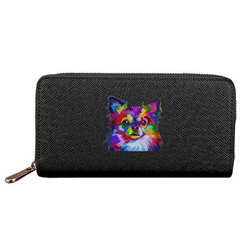 Colorido Chihuahua perro mujer larga cartera de gran capacidad señoras monedero cremallera titular de la tarjeta