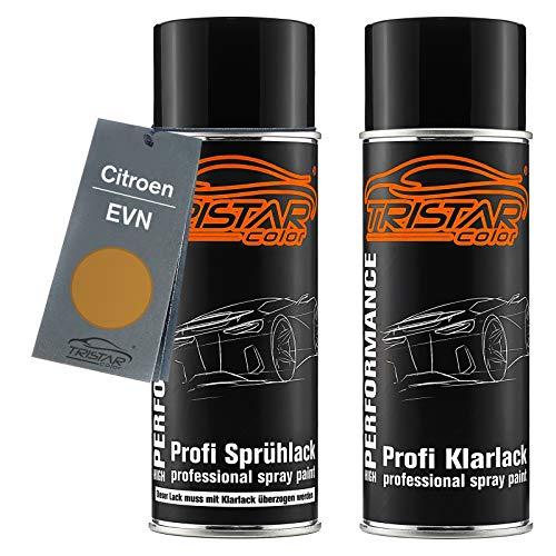 TRISTARcolor Autolack Spraydosen Set für Citroen EVN Gold Metallic Basislack Klarlack Sprühdose 400ml