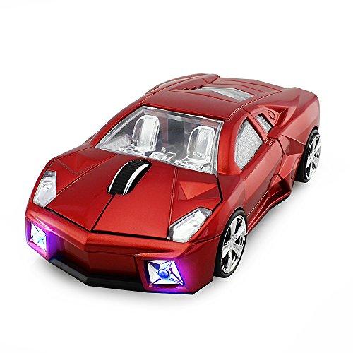 ECOiNVA souris de voiture de sport sans fil 2.4GHz pour ordinateur portable PC Windows Mac OS Android