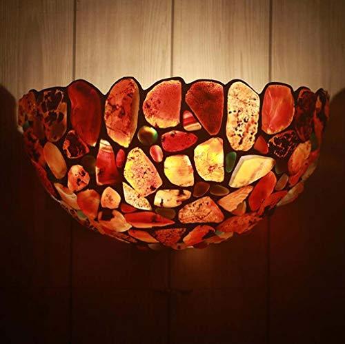 Wandlamp Tiffany stijl 2 wandlampen van agaatsteen in heldere kleuren voor woonkamer slaapkamer gang 13 inch breedte 6,6 inch hoogte