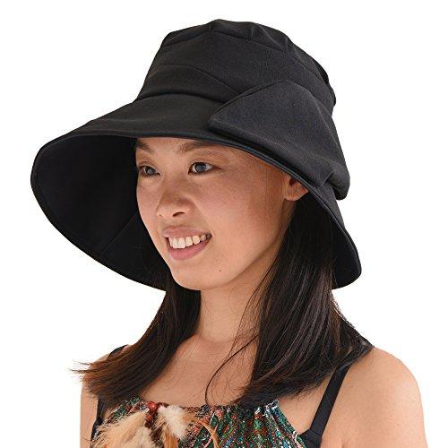 Casualbox Charm Damen Sonne Hut Sommer Strand Japanisch Design Weite Krempe UV Schutz Schwarz