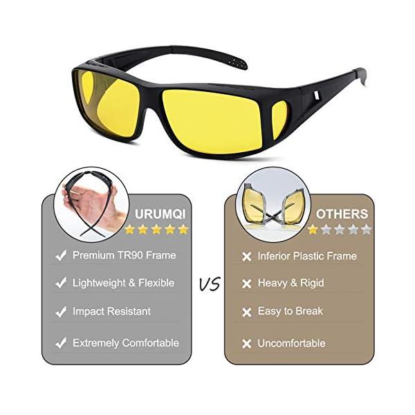 Day/Night Driving Glasses Fit Over Prescription Glasses, Unisex Wrap-around Sunglasses HD Vision Polarized Anti-glare