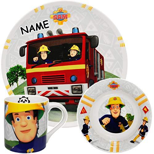 alles-meine.de GmbH 3 TLG. Geschirrset -  Feuerwehrmann Sam Jones  - incl. Name - Porzellan / Keramik - Trinktasse + Teller + Müslischale - Kindergeschirr - Frühstücksset für K..