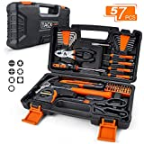 TACKLIFE 57-Piece Orange Home Tool Kit -Basic Household Repair Tool Kit for Home, Office, Apartment with Sturdy Tool Box Storage Case - Perfect Gift for Beginners-HHK3A