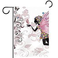 ガーデンヤードフラッグ両面 /28x40in/ ポリエステルウェルカムハウス旗バナー,蝶の花