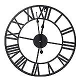 Reloj de pared de metal con números romanos de Ejoyous, reloj de pared de hierro industrial antiguo clásico redondo, decoración de Home Cafe, reloj de pared con estilo simple y vintage(Los 60CM)