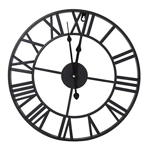 Greensen Reloj de Pared de Hierro Industrial,Clásico de Metal Redondo en Forma de Reloj de Pared de Hierro Industrial Antiguo Números Romanos Home Cafe Decor(60CM)