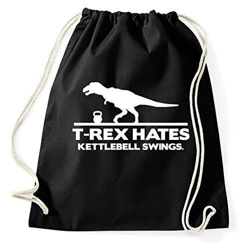 Styletex23 T Rex Hates Kettlebell Swings Training Turnbeutel Sportbeutel, schwarz