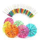 Fliyeong Lot de 50 parapluies en papier mixte pour cocktails, cocktails, fêtes, boissons tropicales, fruits, vins, cocktails, accessoires de maison, portables et utiles