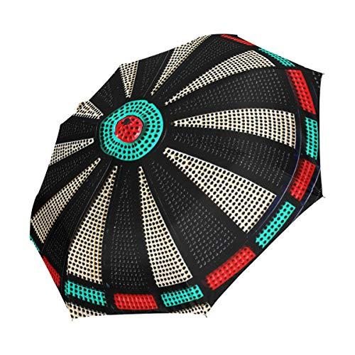 XiangHeFu Regenschirm, Vintage-Spiel, Dartscheibe, Rollen, automatisches Öffnen, 3 Falten, leicht, UV-Schutz