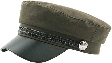 XGao Newsboy Caps, Vintage Beret Flat Mens Newsboy Men's Women's Women Solid Button Navy Cap Leather Student Outdoor Top Comfortable Breathable Hat for Boyfriend Girlfriend Gift (Navy)