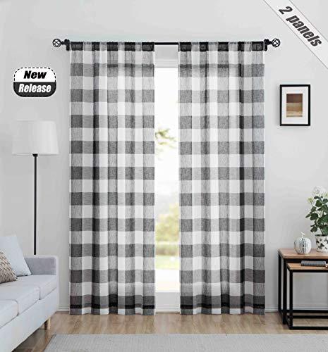 "Ronaldecor Gingham Plaid Buffalo Checkered Sheer Curtain Panels, Basic Rod Pocket Window Treatment, for Bedroom & Living Room, 2 Panels,40""x63"", Black and White"