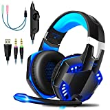 Gaming Headset PS4 Gaming Headphones with Microphone LED Light Surround Sound, Noise Cancelling...
