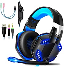 Gaming Headset PS4 Gaming Headphones with Microphone LED Light Surround Sound, Noise Cancelling Over-Ear Headphoneswith Mic, Wired Headsetwith Microphone for Xbox one, PS5, PC, Mac