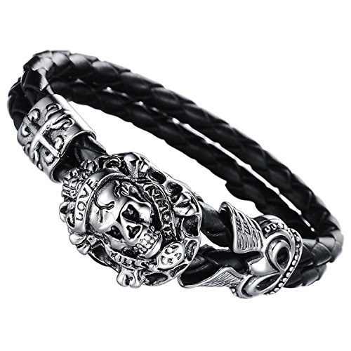 Cupimatch Herren Totenkopf Armband, geflochten Lederarmband Gotik Punk Rock Lederkette Edestahl Kreuz Schädel Manschette Armreif, schwarz Silber