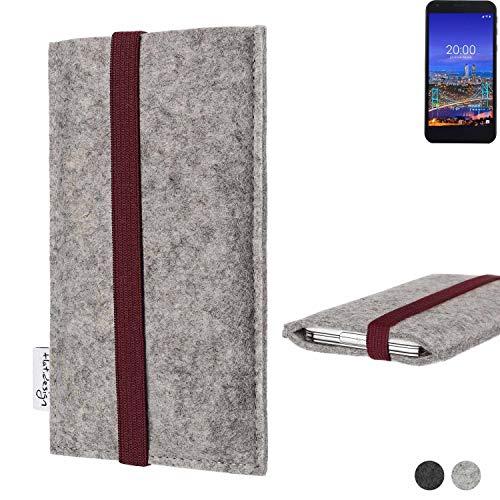 flat.design Handy Hülle Coimbra für Vestel 5530 - Schutz Case Tasche Filz Made in Germany hellgrau Bordeaux