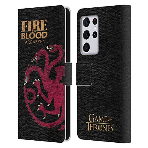 Head Case Designs Officially Licensed HBO Game of Thrones Targaryen House Mottos Leather Book Wallet Case Cover Compatible with Samsung Galaxy S21 Ultra 5G