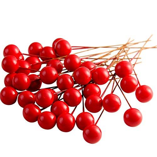 FEPITO 150 pcs Mini Rot Holly Beeren Weihnachten Dekoration Weihnachtskranz Dekoration Künstliche Holly Berry zum Basteln Geschenken Dekoration Künstliche Blumen Bastelmaterial