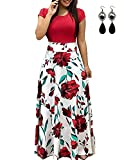 UUAISSO Mujer Vestido Fiesta Largo Manga Larga Floral Print Casual Verano Maxi Vestidos Playa Vacaciones B-Rojo-Manga Corta S