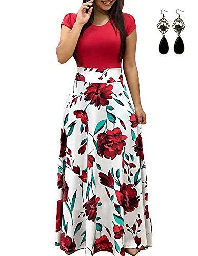 UUAISSO Donna Vestiti Eleganti Lunghi Floreale Casuale Abito Maxi Manica Corta Abiti Vestito da Cocktail Banchetto Sera C-Rosso-Manica Corta 5XL