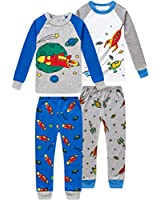 shelry Pajamas for Boys Children Rockets Clothes Christmas Kids 4 Pieces Pants Set Baby PJs 8t