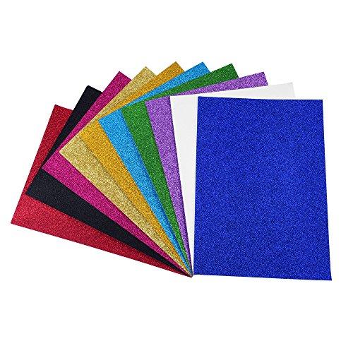 ewtshop 10 Blatt Glitzer Papier glänzend, 10, Glitter Tonpapier Glitzer Papier Glitterkarton Patchwork für Scrapbooking und mehr