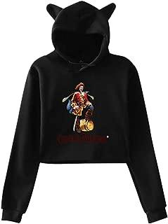ME COO Womens Long Sleeve Hooded Sweatshirt Funny Print of Captain Morgan Cat Ears Hooded Sweatshirt