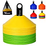 Vivitory Disc-Cones (Set of 50) - Agility Soccer Cones with Carry Bag and Holder for Training, Football, Kids,...