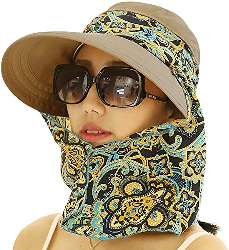 Roll Up Wide Brim Sun Visor UPF 50+ UV Protection Sun Hat with Neck Protector Khaki