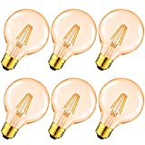 LVWIT Bombillas Vintage LED E27 (Casquillo Gordo) 6.5W, Bombilla Edison Retro de Blanco Cálido 2500K, Lámpara Grande Anatigua con Filamento, Equivalente a 51W, 650lm, 6 Unidades