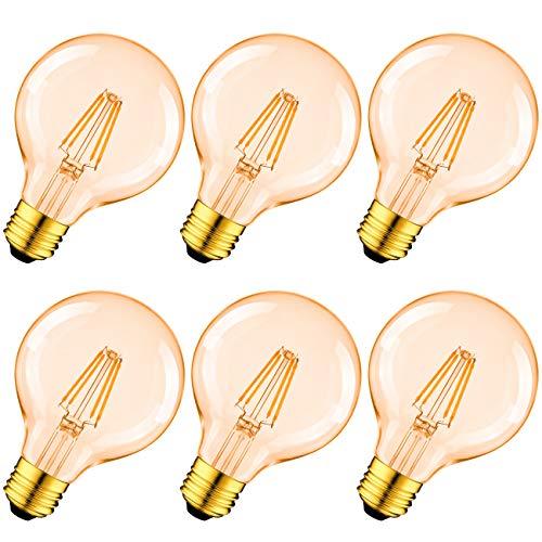 Edison Vintage Glühbirne, LVWIT Filament LED Lampe E27 G80 6.5W ersetzt 51 Watt Warmweiss 2500K Antike Glühlampe 650 Lumen, Ideal für Nostalgie und Retro Beleuchtung im Haus Café Bar, 6er Pack