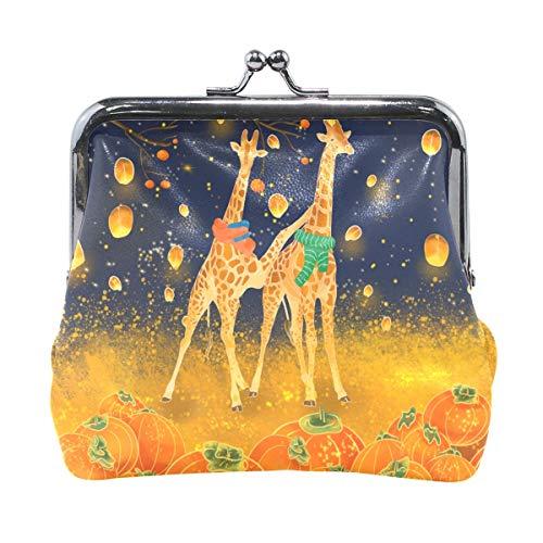 Orange Giraffe Kürbis Laterne Geldbörse Geldbörse Vintage Beutel Fashion PU Leder Geldkarten Halter für Frauen Mädchen Teenager Kinder