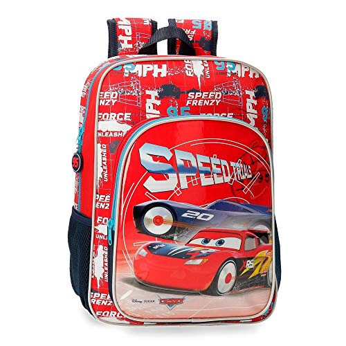 Disney Cars Speed Trails Mochila Escolar Adaptable, 38cm, Rojo
