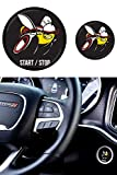 GRIDREADY Scat Pack Starter Button Decal Overlay fits 2015-2020 Dodge Charger/Challenger | SRT Style Start Stop Sticker Emblem | Push Start Badge Cover | Scatpack Accessories (Black)