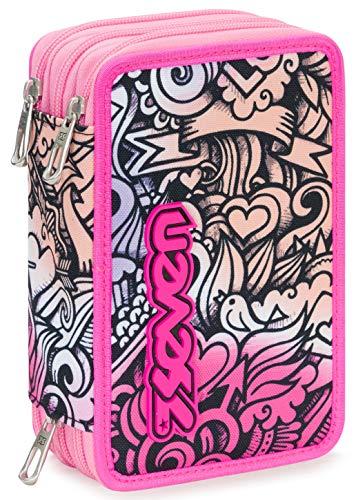 Astuccio 3 Zip Seven Pinkshade, Rosa, Con materiale scolastico: 18 pennarelli Giotto Turbo Color, 18 matite Giotto Laccato…