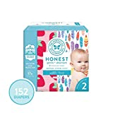 The Honest Company Super Club Box Diapers with TrueAbsorb Technology, Painted Feathers & Strawberries, Size 2, 152 Count