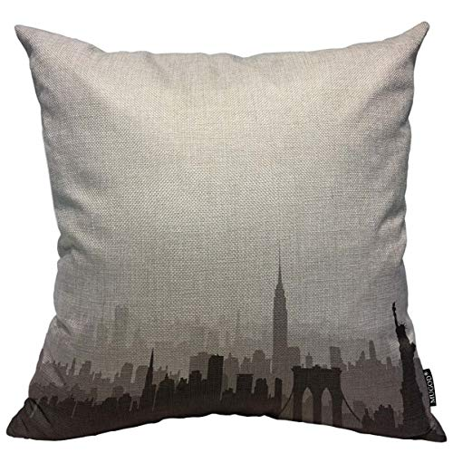 Mugod Throw Pillow Cover New York USA Skyline NYC City Silhouette with Liberty Monument American Landmarks Urban Architectural Home Decor Pillow Case for Men Women Cushion Cover 18x18 Inch