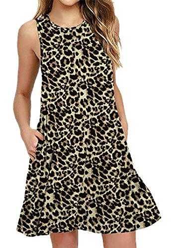 OMZIN Damen Leo Kleid Ärmellos Baumwolle Freizeit Kleid Sommer Kurz Casua Kleid Großer Leopard XXL
