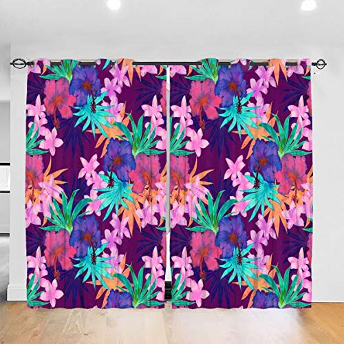 Heidi Tropical Floral Purple Blackout Curtains Thermal Insulated Grommet Curtains 2 Panels 52 x 72 in Einheitsgröße Punch