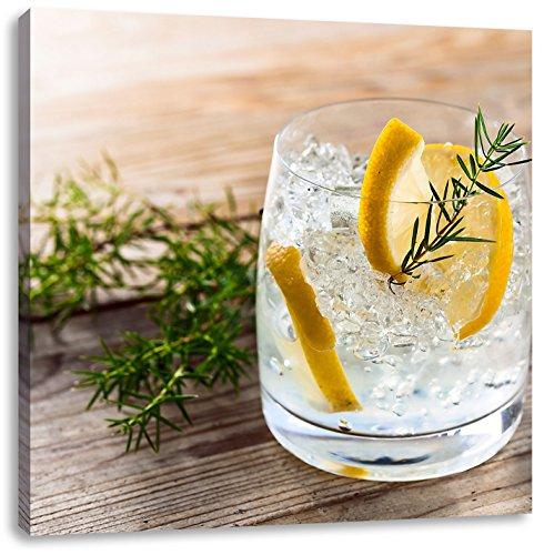 Delicious gin-tonicCanvas Foto Plein | Maat: 40x40 cm | Wanddecoraties | Kunstdruk | Volledig gemonteerd