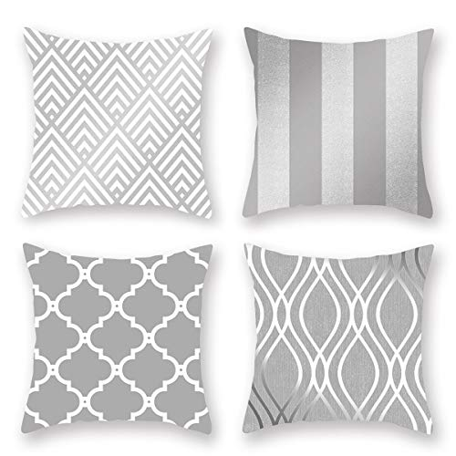 Geometric European Style Pillow Covers-20x20 Inch Throw Pillow Cover Burlap Square Set of 4 Pillow Case for Farmhouse Holiday Couch Bed Sofa