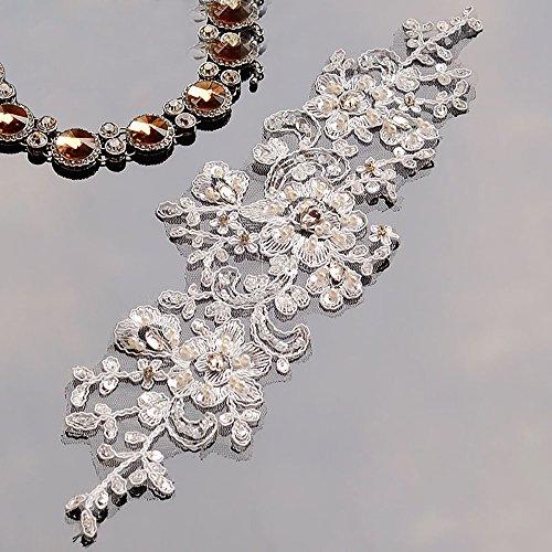 Encaje Floral 3d flores boda novia diseño de tela de encaje parches con Rhinestone...