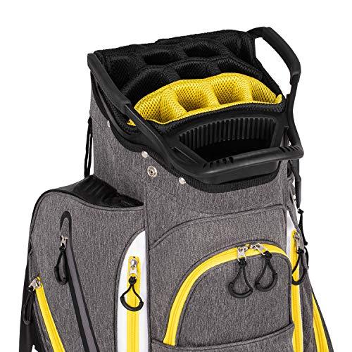 Founders Club Franklin Golf Push Cart Bag -Riding Cart Bag -Full Bag Rain Cover -Secure Push Cart Base -Light Weight -15 Way Full Length Divider-External Putter Tube-Embroidery Panel (Yellow)