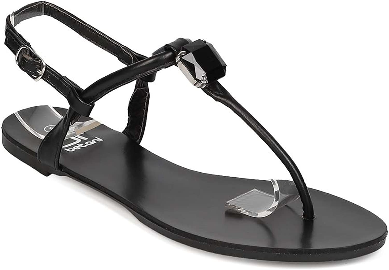 BETANI EH63 Women Leatherette T-Strap Rhinestone Slingback Flat Sandal - Black