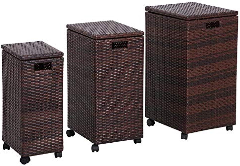 Outsunny Aufbewahrungsbox 3er-Set Aufbewahrungskiste Auflagenbox Ordnungsbox mit Deckel rollbar Polyrattan Braun L M S 44 x 37 x 75 cm